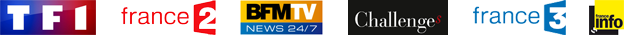Logos de TF1, France2, BFMTV, Challenges, France3 et FranceInfo